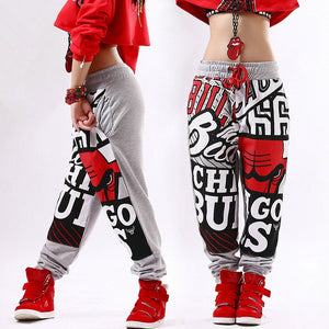 NBA Chicago Bulls Printed Hip Hop Dance Loose Harem Pants-women-wanahavit-Grey-M-wanahavit