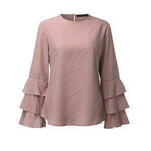 O-Neck Flounce Long Sleeve-women-wanahavit-Pink-S-wanahavit