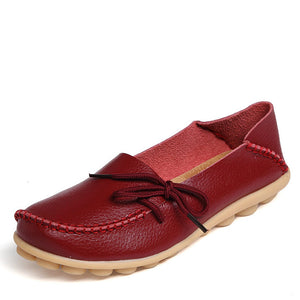 Genuine Leather with Knot Moccasin Shoe-women-wanahavit-Dark Red-5-wanahavit