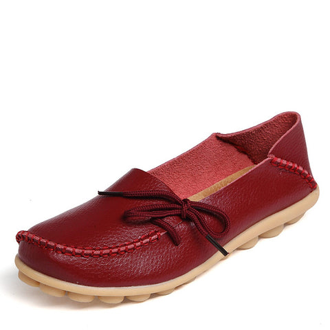 Genuine Leather with Knot Moccasin Shoe