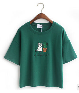 Cat Embroidered Cute Cropped Top Tees-women-wanahavit-Green-One Size-wanahavit