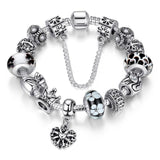 Silver Charms & Queen Crown Beads Bracelet-women-wanahavit-Black-20cm-wanahavit