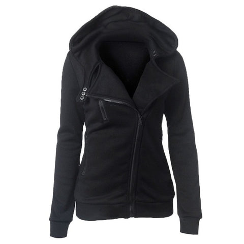 Autumn Winter Long Sleeve Zipper Hooded Sweatshirt-women-wanahavit-black-S-wanahavit