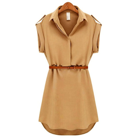 Fashionable Short Sleeve Stretchable Casual Mini Dress with Belt
