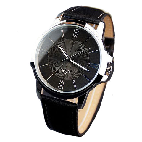Luxury Business Leathered Wristwatch-unisex-Black black-wanahavit