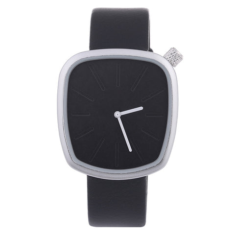 Luxury Irregular Shaped Wristwatch-unisex-black band silver-wanahavit