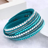Fashion Multilayer Rhinestone Leather Crystal Wrap Bracelet-women-wanahavit-Army Green-wanahavit