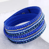 Fashion Multilayer Rhinestone Leather Crystal Wrap Bracelet-women-wanahavit-Blue-wanahavit