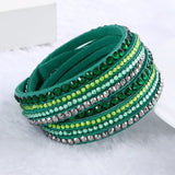 Fashion Multilayer Rhinestone Leather Crystal Wrap Bracelet-women-wanahavit-Green-wanahavit