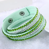 Fashion Multilayer Rhinestone Leather Crystal Wrap Bracelet-women-wanahavit-Yello Green-wanahavit