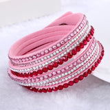 Fashion Multilayer Rhinestone Leather Crystal Wrap Bracelet-women-wanahavit-Pink-wanahavit