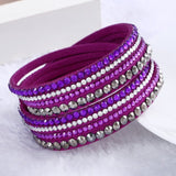 Fashion Multilayer Rhinestone Leather Crystal Wrap Bracelet-women-wanahavit-Purple-wanahavit