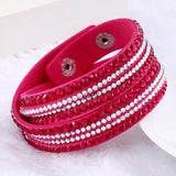 Fashion Multilayer Rhinestone Leather Crystal Wrap Bracelet-women-wanahavit-Red-wanahavit