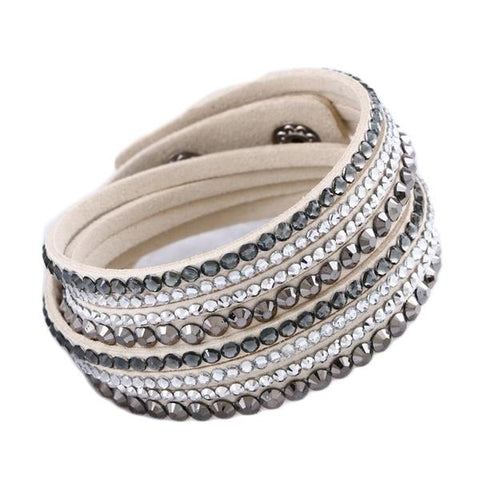 Fashion Multilayer Rhinestone Leather Crystal Wrap Bracelet