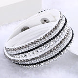 Fashion Multilayer Rhinestone Leather Crystal Wrap Bracelet-women-wanahavit-White-wanahavit