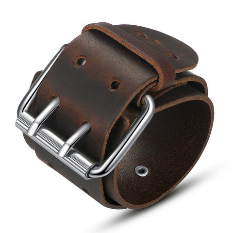 Wide Genuine Leather Belt Bracelet With Alloy Clasp-unisex-Brown-wanahavit