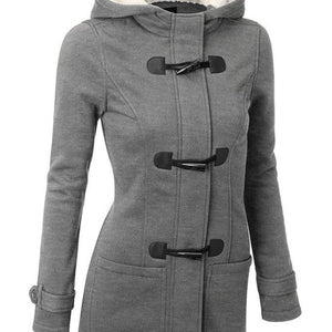 Horn Buttoned Autumn Long Hooded Coat-women-wanahavit-Gray-S-wanahavit