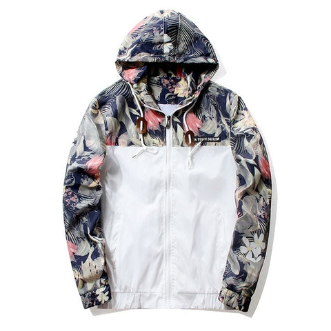 Hip Hop Floral Bomber Jacket-men-White-M-wanahavit