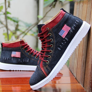 American Flag Label Trendy Fashion Style Vintage Denim Shoe-men-wanahavit-black 1-6.5-wanahavit