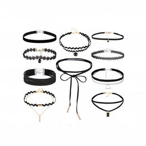 10 pcs/set New Gothic Leather Choker Set-women-wanahavit-wanahavit
