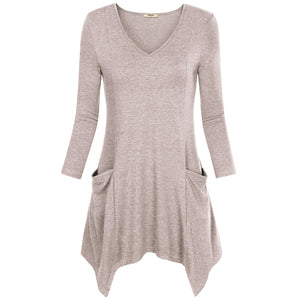 Asymmetrical Hem Long Sleeve Knitted V-Neck Long Sleeve-women-wanahavit-Khaki-M-wanahavit