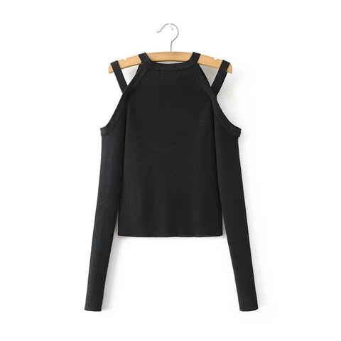 Sexy Off Shoulder Slim Crop Top Long Sleeve Shirt-women-black-M-wanahavit