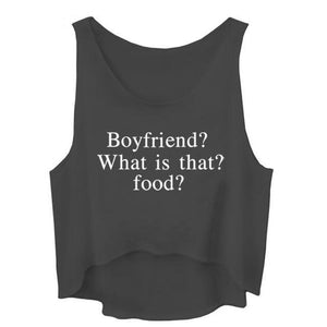 Boyfriend? What is that? Food? Crop Top Sleeveless Shirt-women-wanahavit-Black-L-wanahavit