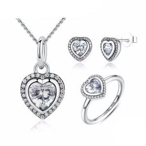 925 Sterling Silver Sparkling Love Heart Jewelry Set-women-wanahavit-6-wanahavit