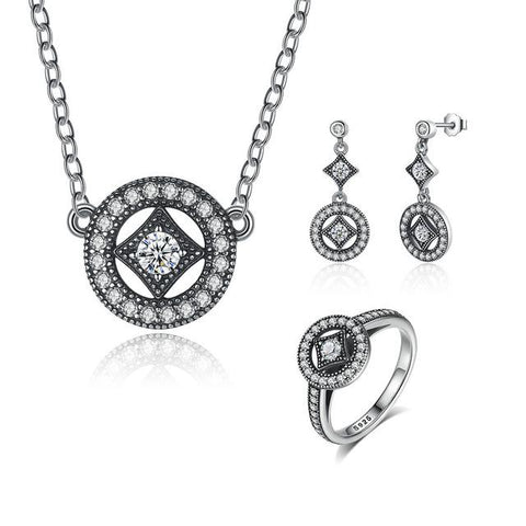 925 Sterling Silver Classic Vintage Allure Jewelry Set-women-wanahavit-Silver 1-6-wanahavit