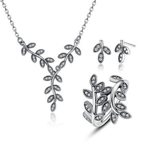 925 Sterling Silver Sparkling Leaves Jewelry Set-women-wanahavit-Short Earring-6-wanahavit