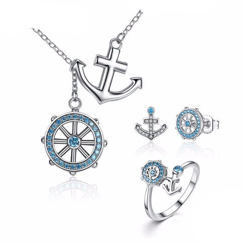 925 Sterling Silver Blue Anchor & Rudder Pendants Jewelry Set