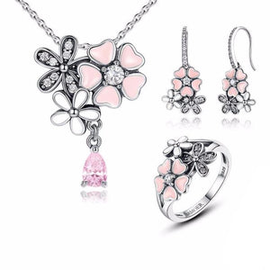925 Sterling Silver Pink Cherry Flower Blossom Jewelry Sets-women-wanahavit-6-wanahavit