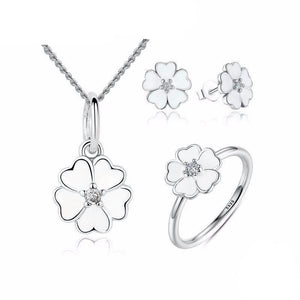 925 Sterling Silver Primrose Flower White Enamel Jewelry Set-women-wanahavit-6-wanahavit