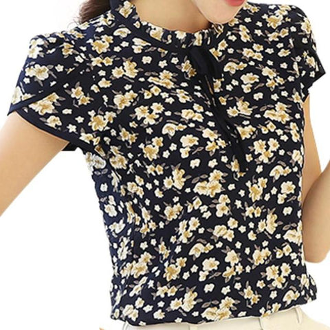Floral Print Chiffon Short Sleeve Blouse