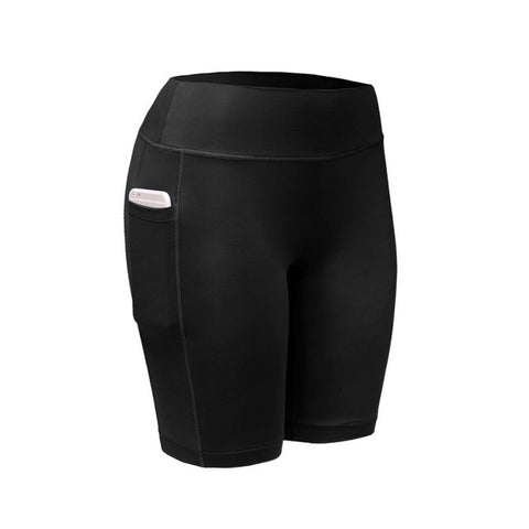 Quick Dry Elastic Workout Shorts with Pocket-women fitness-wanahavit-Black-L-wanahavit