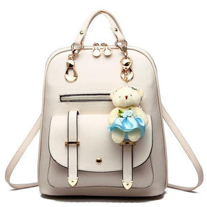 Luxury Teenage School Backpack w/ Stuff Toy-women-wanahavit-beige-wanahavit