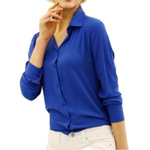 Chiffon Blouse Long Sleeve Shirt-women-wanahavit-Blue-S-wanahavit