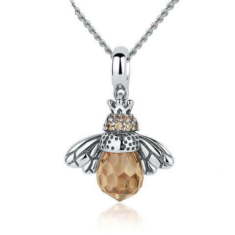 925 Sterling Silver Lovely Orange Bee Necklace