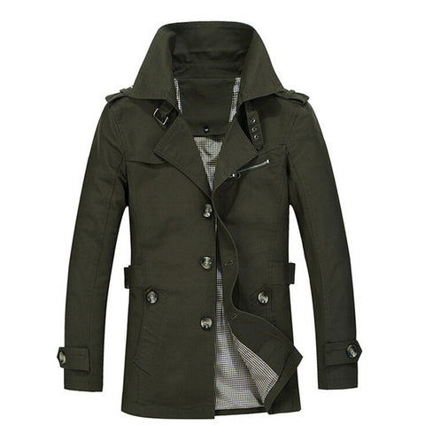High Quality Slim Fit Windbreaker Long Coat-men-wanahavit-Army Green-M-wanahavit