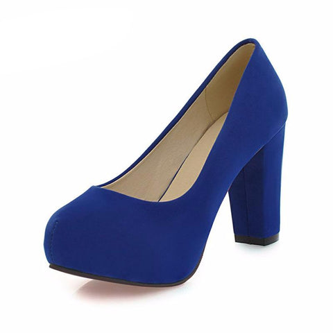 Shallow Thick High Heels Round Toe High Heels
