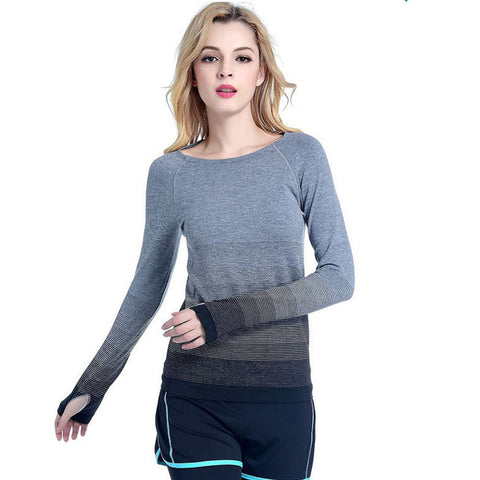 Quick Dry Gradient Color Long Sleeve Yoga Shirt-women fitness-wanahavit-Black-S-wanahavit