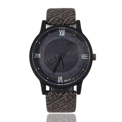 Retro Tree Rings Printed with Leather Strap Watch-unisex-Grey-wanahavit