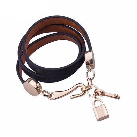 Luxury Pink Leather Bracelet with Lock and Key-women-wanahavit-Black-wanahavit