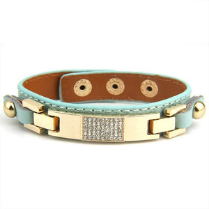 Leather With Crystal Fashion Bracelets & Bangles-women-wanahavit-Light Blue-wanahavit
