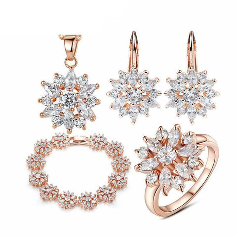 3 Colors Rose Gold Color Bridal with High Quality AAA Zircon Jewelry Set - women - wanahavit