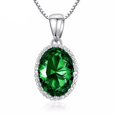 High Quality Colorful Stones Silver Necklace-women-Green-wanahavit
