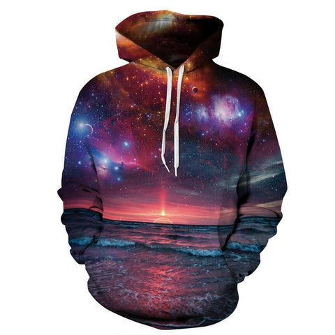 View at the Beach of Universe 3D Sweatshirt Hoody-unisex-wanahavit-L-wanahavit