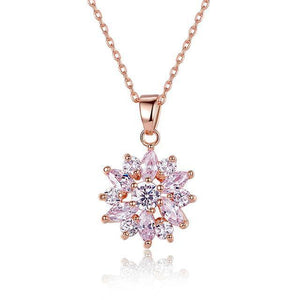 3 Colors Luxury Gold Color Flower Necklace-women-wanahavit-Pink-wanahavit