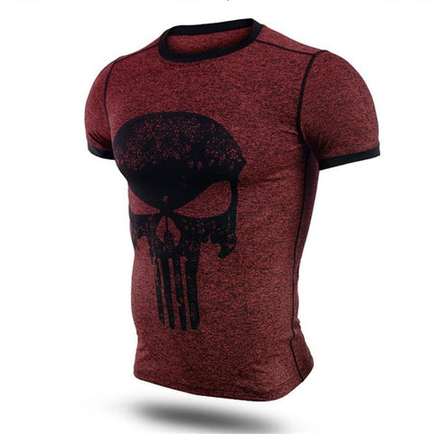Punisher Bodybuilder Compression Short Sleeve Tees-men fashion & fitness-wanahavit-Red & Skull-M-wanahavit