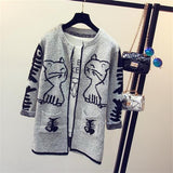 Star Printed Knitted Warm Long Cardigan